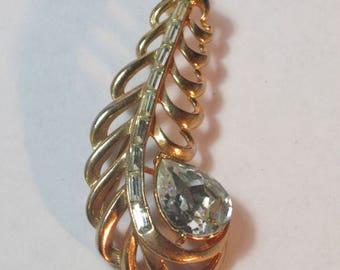 Vintage Feather Pin with Huge Teardrop Rhinestone