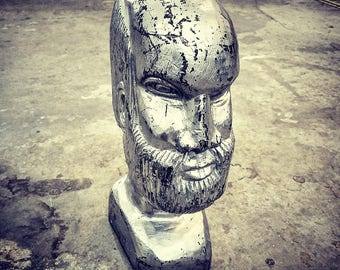 Intriguing Carved Wood Silver Man Head
