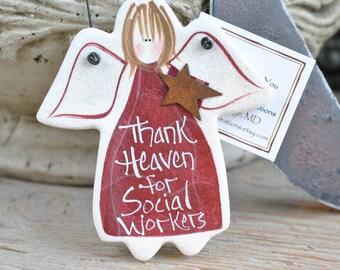 Social Worker Salt Dough Ornament / Thank You Gift