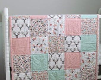 "Minky baby quilt-36"" x 51""-Girls minky quilt-flowered antler quilt- minky baby blanket- baby bedding- Toddler blanket- crib minky blanket"