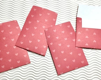 12 teeny tiny miniature square Valentine red hearts envelope mini note card sets stationery party favors weddings guest book
