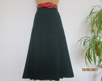 Big Size Pencil Skirt / Skirt Vintage / Green / Dark Turquoise / with Pleats / Size EUR48 / 50 / UK20 / 22