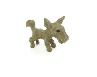 Miniature Donkey Figure. Hand Carved Wood Figurine. Painted Gray Brown. Mini Animal. Vintage 1940s Farm, Crêche, Shadow Box Collectible