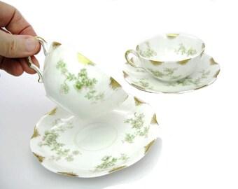 French Tea Cups. Haviland China, Limoges. Vintage Floral Teacups, Set of 2, Translucent Porcelain. Delicate Pink & Green Flowers, Gold Trim.