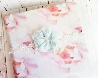 Pink Roses Album, Blush and Aqua, Wedding Album, Shabby Chic Album, Handmade Flowers Album, Floral Album, Blush Pink, Baby Girl Album, Rose