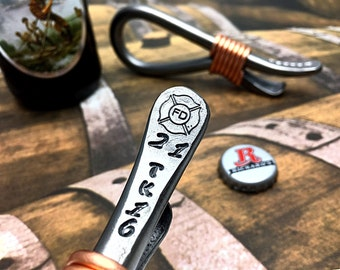 FIRE FIGHTER Bottle Opener - Personalized -  Hand Forged and Signed by Blacksmith Naz - Fireman - Firemen - Gift - Custom -