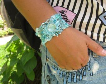 Blue bracelet, Blue jewelry Beaded bracelet, Beadwork, Beading Blue Freeform jewelry, Unique gift, Gift for women