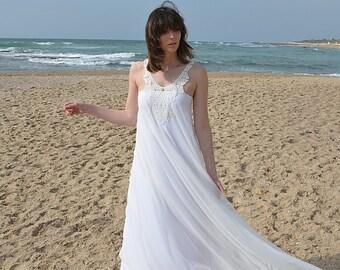 Romantic wedding dress with embroidery pattern, boho wedding lace, Barzelai wedding dress