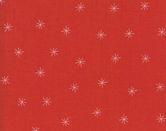 Merrily Snowy Stars in Berry Red,  Gingiber, 100% Cotton, Moda Fabrics, 48213 22