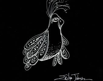 Birdie Belle Original pen and ink drawing-bird art-art bird wall art-black and white-whimsical-home-decor-house warming-birds-art-gift-home