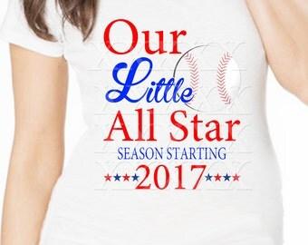 "Maternity Tee Baseball mom to be ""Our Little All Start"" sports short sleeve maternity tee shirt pregnancy annoucement tee shirt"