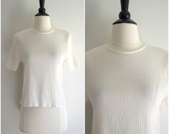Vintage crinkle fabric white blouse