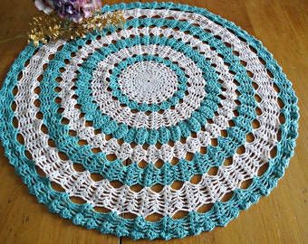 Vintage Doily Crocheted Large Doily Green Lagoon & White  Doilies  F4