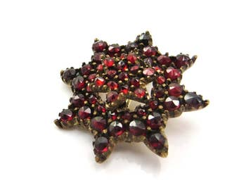 Antique Victorian Garnet Brooch, Bohemian Garnet Jewelry, Rose Cut Garnets, Antique Garnet Pin, Star Brooch, Antique Jewelry