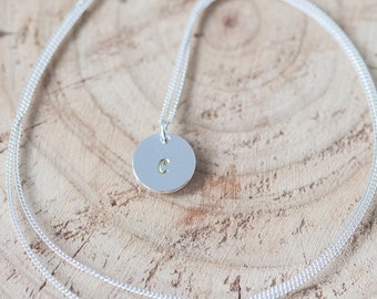 Initial Charm Necklace Silver Coin Monogram Necklace Hand Stamped Jewelry Personalized Gift for Bridesmaid Birthday Gift Idea Gift for Mom