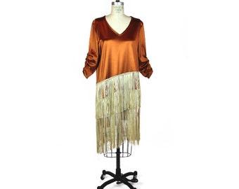 1970's Handmade Ponte Flapper Dress