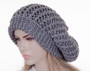 Big Sale -Slouchy beanie  oversized beanie hat winter knit hat for woman in dark blue ,navy -COLOR OPTION AVAILABLE