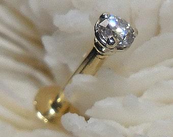 DIAMOND, LABRET, TRAGUS, 14K, 2.3mm, diamond labret stud, diamond tragus stud, 14K labret, 14K monroe, 14K tragus,