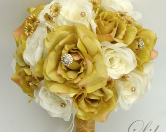 """17 Piece Package Wedding Bridal Bouquet Silk Flowers Bouquets Artificial Bride GOLD IVORY Jewels Pearls """"Lily of Angeles"""" GOIV01"""""""