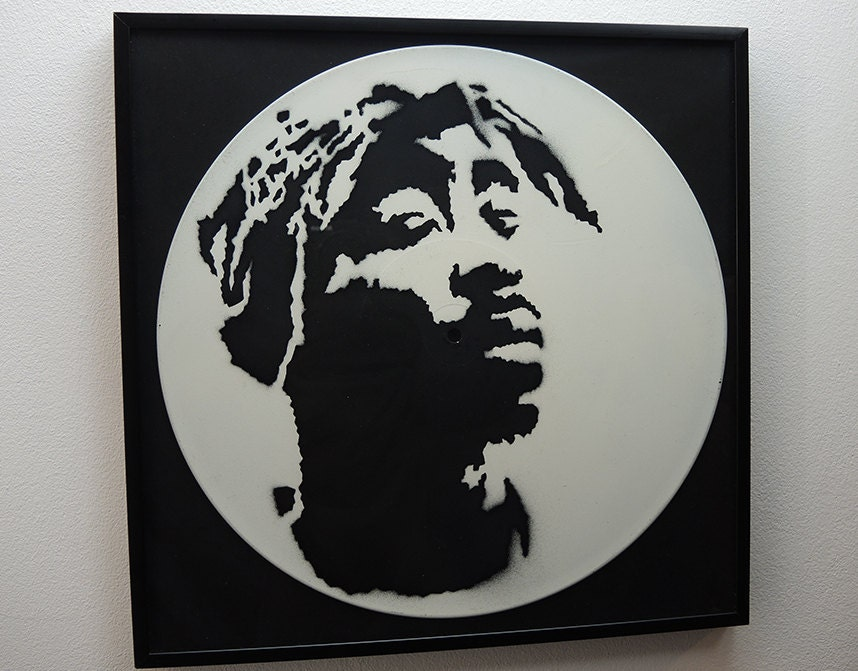 Limited Edition Tupac Shakur 2Pac Stencil Art Vinyl Record