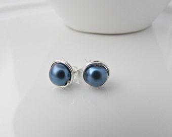 Blue Pearl Earrings, Pearl Earrings, Bridesmaid Gifts, UK Seller, Girl Gifts, Pearl Stud Earrings. Navy Blue Earrings, Something Blue Gifts