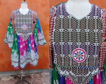 Vintage Kuchi Nomad Ceremonial Beaded Mirrored Dress. Gypsy Tribal Boho Ethnic Afghan Turkish. Embroidered. Tribal Bellydance