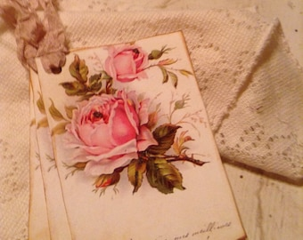 Shabby Chic Vintage Roses French Postcard Hang Tags with Hand Tattered Pink Seam Binding Set of 4