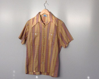 Vintage 60s Madmen Shirt, Men's  Short Sleeve Brown Striped Shirt, Vintage JC Penney
