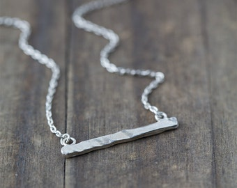 Silver Bar Necklace, Ripple Bar Necklace, Gift for Women, Gift for Her, Sterling Silver Necklace, Friend Gift, Wife Gift