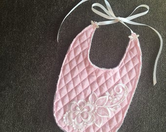 Tattered and Dainty pink decorative soft quilted baby bib