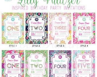 Monogram Lilly Pulitzer Inspired Birthday Party Invitation - ANY AGE