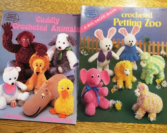 Cuddly Crocheted Animals / Petting Zoo - (Hippo, Monkey, Lion, Bunny+) - 2 x CROCHET Amigurumi Animal Books by American School of Needlework