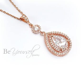 White Crystal Wedding Necklace Rose Gold Teardrop Bridal Necklace Cubic Zirconia Bride Pendant Bridesmaid Gift Sterling Wedding Jewelry CZ
