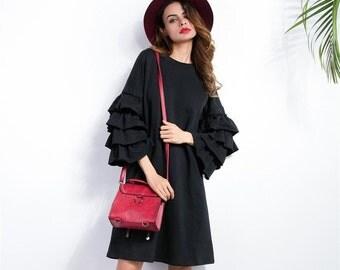 SALE 50% - Handmade Plus Size Black mid knee ruffle dress with Butterfly sleeve loose Harajuko dress