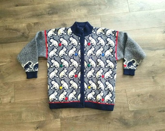 1980s Cat Lover's Cardigan Sweater Kittens With Yarn High Neck Wool Women's Vintage Medium