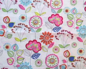 1 Yard Lava Flowers Fabric Michael Miller Cotton Quilting Fabric Out of Print OOP White Hot Pink Blue Green Flowers Mod Floral