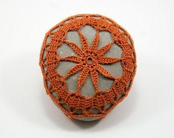 crochet stone, crochet rock, rust, burnt orange lace, green river rock, housewarming gift, rustic beach wedding, bowl element, table decor