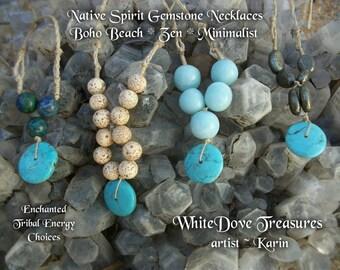 Boho Tribal Gemstone Necklace - Turquoise Bead & Azurite Blue Quartz Lotus Seed Pyrite Mini Malas - Long Cord Native Zen Chakra Reiki Energy
