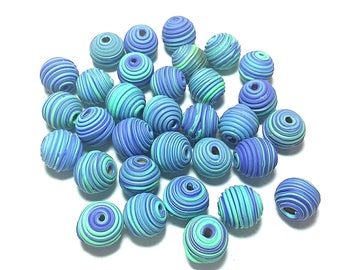10 Fimo Polymer Clay Fimo Beads Skyblue Blue Round Spiral color 14mm