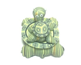 New Fimo Polymer Clay Green Turtle w/ Baby Turtle Figurine Refrigerator Magnet