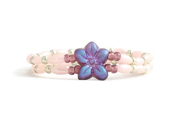 Flower Bracelet - Children's Jewelry - Pink Bead Bracelet - Stretch Jewelry - Girl's Bracelet - Flower Jewelry - Child's Bracelet
