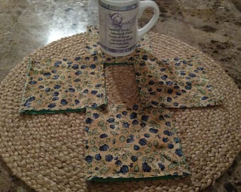 New Item Set of 4 tan blue and green floral mug rug coasters Table Settings home decor angel karing quilts Ready to Ship