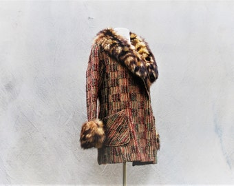1960s MOD coat - 60s Bristish Invasion tweed and fur mid length jacket - medium / large