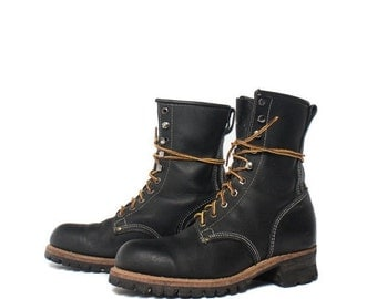 40% off SALE 9 E | Men's Steel Toe Logger Boots in Black Leather