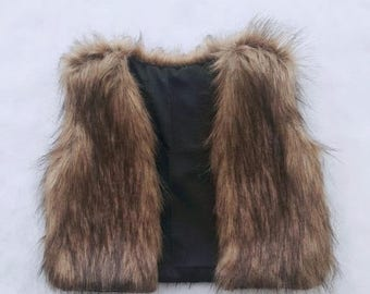 ON SALE Faux Fur Baby Vest Brown and Black Boho Vest ONLY One Made