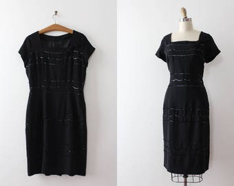 vintage 1950s dress // 50s 60s little black dress with sequins