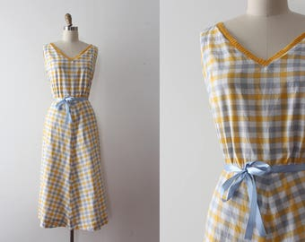vintage 1950s dress // 50s yellow gingham day dress