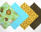 Special Order for Kathy  3 Packs - 48 Piece Rag Quilt Top Kit in Baby Jungle Animals, Aqua Dots, Giraffe and Brown Circle Prints