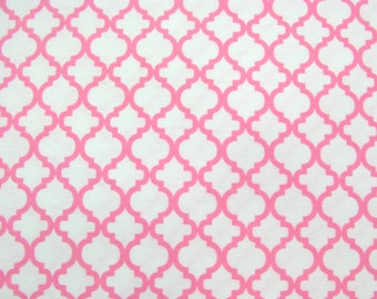 Flannel Fabric by the Yard in a Bright Pink and White Trellis Print 1 Yard