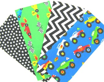 4 Pack of Flannel Fabric Fat Quarters Make up this Flannel Bundle of Fun Monster Trucks, Race Cars and Matching Prints